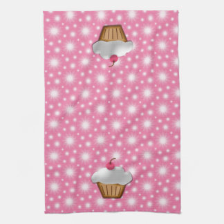 Cute Pink Cherry Cupcake Kitchen Towel