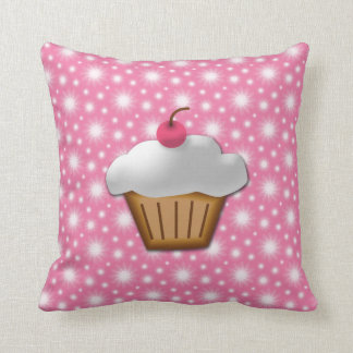 Cute Pink Cherry Cupcake Throw Pillow