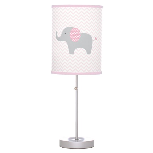 Cute Pink Chevron Elephant Table Lamp