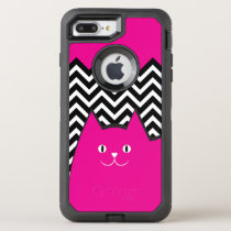 Cute Pink Chevron Kitty Cat OtterBox Defender iPhone 7 Plus Case