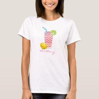 Cute Pink Chevron Lemonade & Lime Slice Monogram T-Shirt