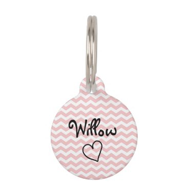 Valentines Themed Cute Pink Chevron Personalized Pet Tag