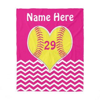 Cute Pink, Chevron PERSONALIZED Softball Blanket