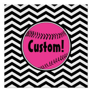 Cute Pink Chevron Softball Customizable Poster