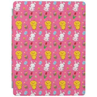 Cute pink chick bunny egg basket easter pattern iPad cover