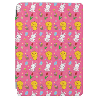 Cute pink chick bunny egg basket easter pattern iPad air cover
