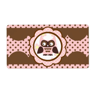 Cute Pink & Chocolate Owl Water Bottle Labels