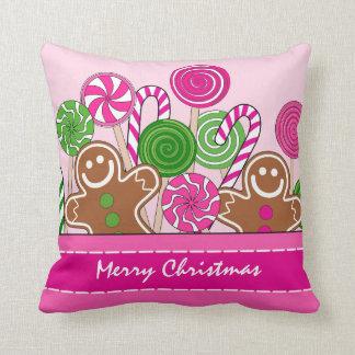 Cute pink Christmas gingerbreads Throw Pillow