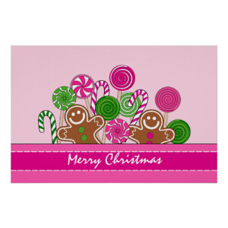 Cute pink Christmas gingerbreads Poster