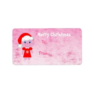 Cute Pink Christmas Santa Cat Label