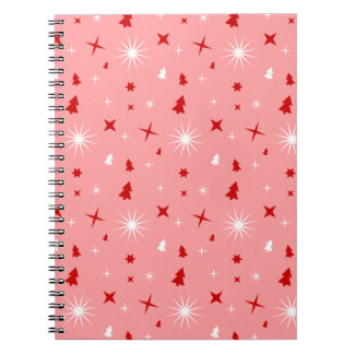 Cute Pink Christmas Stars Trees Pattern Pink Lg Spiral Notebook