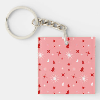 Cute Pink Christmas Theme White Red Trees Stars Lg Single-Sided Square Acrylic Keychain