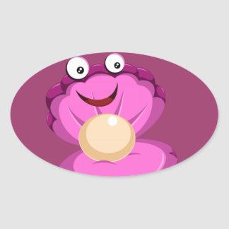 cute pink clam and pearl oval sticker