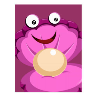 cute pink clam and pearl postcard