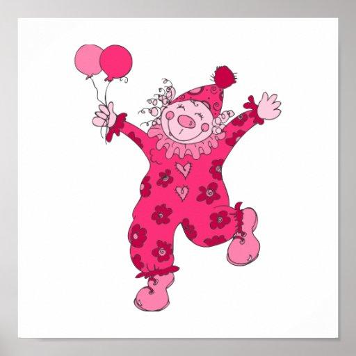 Cute Pink Clown Print
