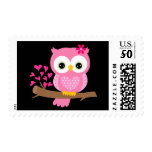 Cute pink color Owl Postage