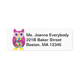 Cute Pink Colorful Owl Label