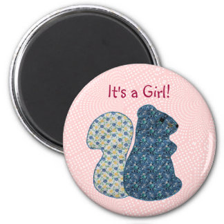 Cute Pink Country Style Squirrel Baby Girl 2 Inch Round Magnet