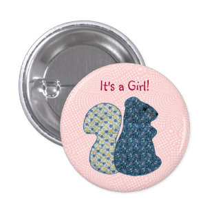 Cute Pink Country Style Squirrel Baby Girl Button