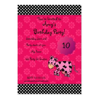 "Cute pink cow birthday invitation 5"" x 7"" invitation card"