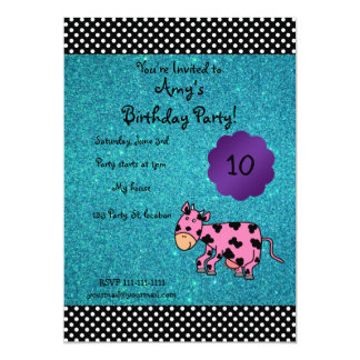 Cute pink cow birthday invitation
