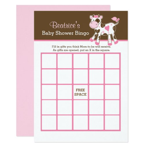 Cute Pink Cow Customized Baby Shower Bingo Card