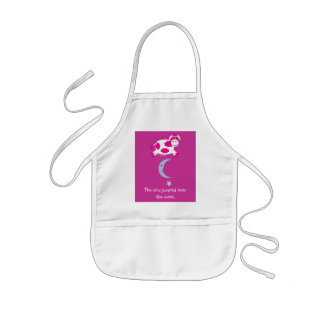 Cute Pink Cow Jumping Over The Moon Kids' Apron