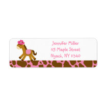 Cute Pink Cowgirl Pony Address Label