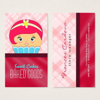 Cute Pink Crimson and Blue Cupcake Baker Bakery Business Card