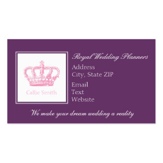 Cute Pink Crown Business Card Template