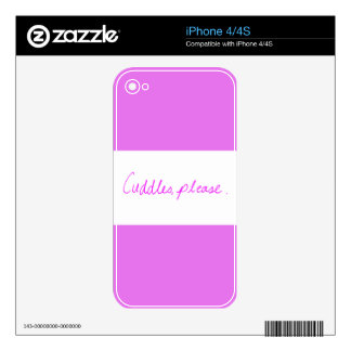 CUTE PINK CUDDLES PLEASE GIRLY FLIRTING QUOTES DECALS FOR THE iPhone 4S