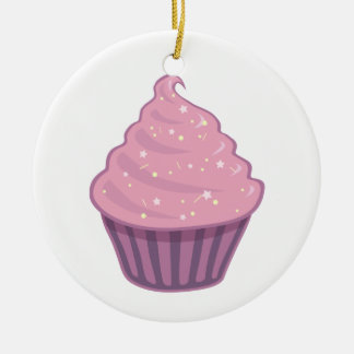 Cute Pink Cupcake Big Swirl Icing With Sprinkles Ceramic Ornament