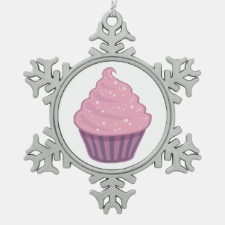Cute Pink Cupcake Big Swirl Icing With Sprinkles Snowflake Pewter Christmas Ornament
