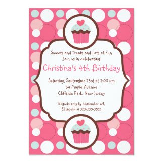 Cute Pink Cupcake Birthday Party Invitation