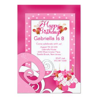 Cute, Pink, Cupcake Birthday Party Invitation