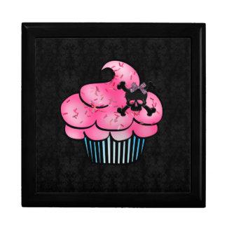 Cute Pink Cupcake & Black Skull Jewelry Box