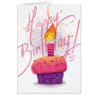 Cute Pink Cupcake & Cartoon Candle Birthday Card