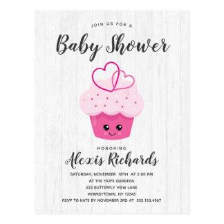 Cute Pink Cupcake Kawaii Baby Shower Invitation Postcard
