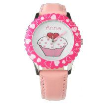 cute pink cupcake personalized design watches