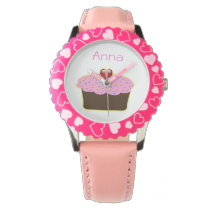 cute pink cupcake personalized design wrist watches