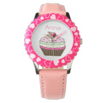 cute pink cupcake personalized design wristwatch