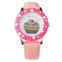 cute pink cupcake personalized design wristwatches