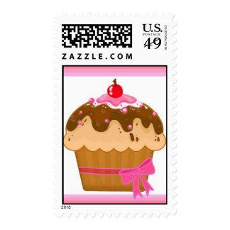 Cute pink cupcake stamps