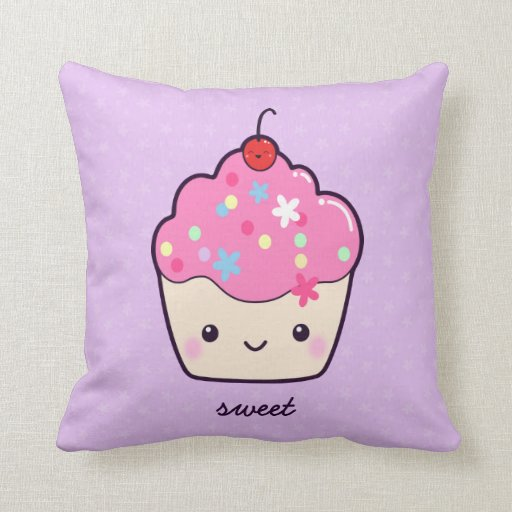 Cute Pink Cupcake Throw Pillow Zazzle