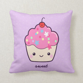 Cute Pink Cupcake Throw Pillows