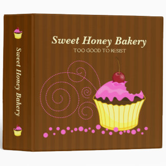Cute Pink Cupcake with Cherry 2 in. Binder