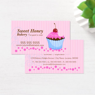 Cute Pink Cupcake with Cherry Business Card
