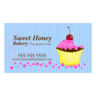 Cute Pink Cupcake with Cherry Business Cards