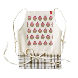 Cute Pink Cupcake with Cherry on Top Zazzle HEART Apron