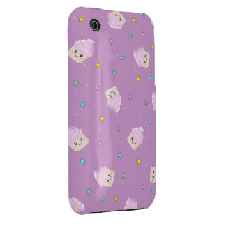 Cute pink cupcakes and stars pattern on altrose iPhone 3 cases